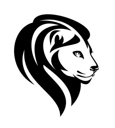 african lion with beautiful mane - wild animal head black and white vector portrait