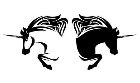 mythical unicorn horse side view outline - horned stallion simple black and white vector portrait Vektorgrafik