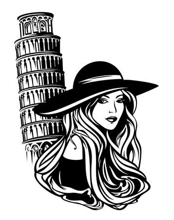 beautiful woman with long hair wearing wide brimmed hat by italian leaning tower of pisa - stylish tourist black and white vector portrait