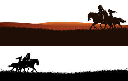 native american chief and beautiful woman riding horses - wild west grass prairie vector silhouette design