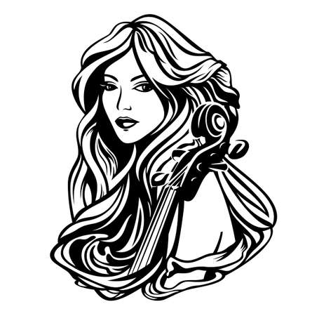beautiful woman with long hair and cello instrument - classical music muse black and white art nouveau style vector portrait