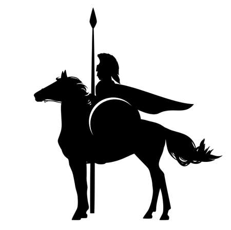 spartan warrior with spear riding horse - brave ancient hero black and white vector silhouette Ilustrace