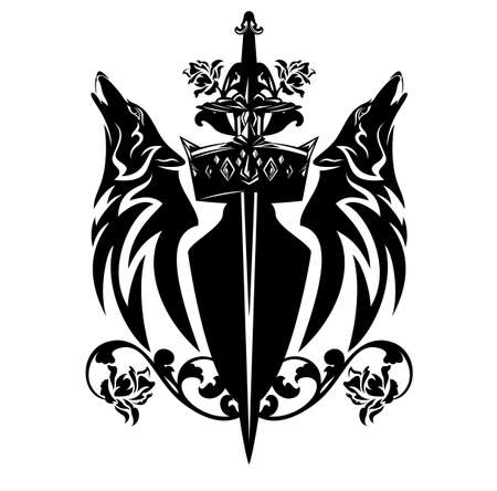 Royal coat of arms vector outline with king crown, knight sword and howling wolves heads