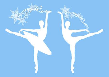 ballerina girl with snowflakes decor - winter season ballet dancer vector silhouette set 矢量图像