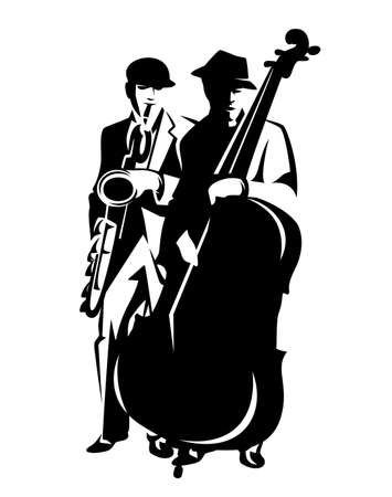 black and white vector outline design of two jazz musicians performing music playing saxophone and contrabass