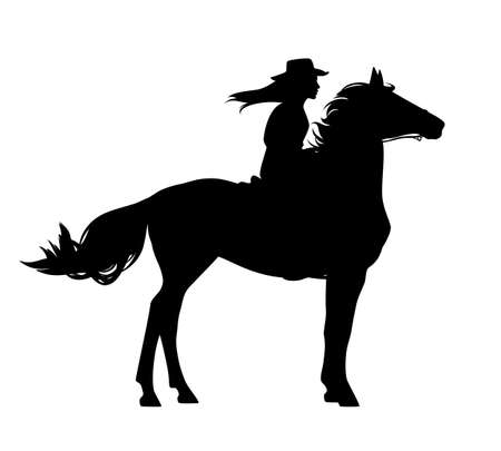 beautiful horseback cowgirl - woman riding standing horse black and white vector silhouette outline