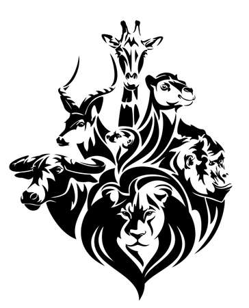 african wildlife black and white vector concept portrait - lion, antelope, buffalo, giraffe, camel and gorilla head outlines 向量圖像