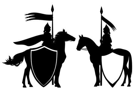 medieval style fantasy knight hero with horse and banner - black and white vector guard heraldic design set Vektoros illusztráció