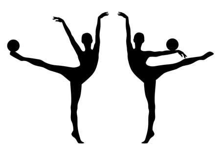 elegant slim woman performing rhythmic gymnastics sport exercise with ball - perfect female body in motion black vector silhouette set Vektorové ilustrace