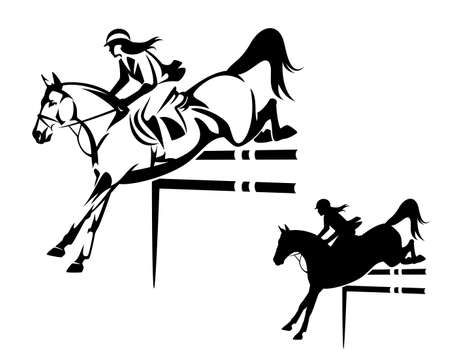 beautiful woman riding horse during show jumping competition - equestrian sport black and white vector outline and silhouette