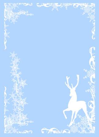 deer standing among snowflakes decor - winter season hoidays monochrome vector frame silhouette design
