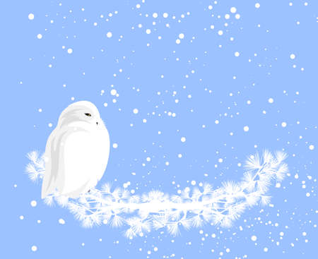 cute snowy owl sitting on pine tree branch under falling snow - winter holidays festive copy space vector background design