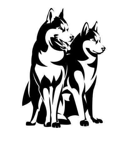 two siberian husky dogs black and white vector outline - sitting and standing purebred animal group