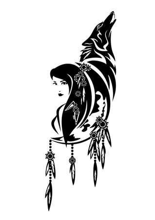 beautiful shaman woman, crescent moon, feathered decor and howling wolf tribal spirit animal concept black and white vector design