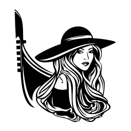 italian woman with long gorgeous hair wearing wide brim hat with gondola boat outline - black and white vector portrait of beautiful tourist in venice