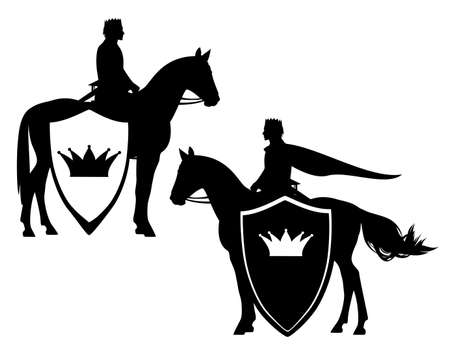 medieval fairy tale prince or king riding horse - horseback rider and heraldic shield with royal crown black and white vector design set 矢量图像