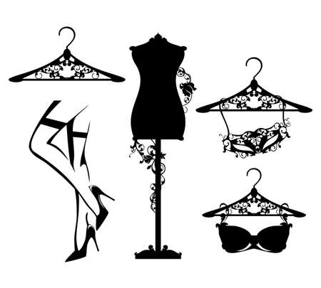 luxuriuos haute couture women fashion atelier design set with vector silhouettes of lingerie and personal accessories