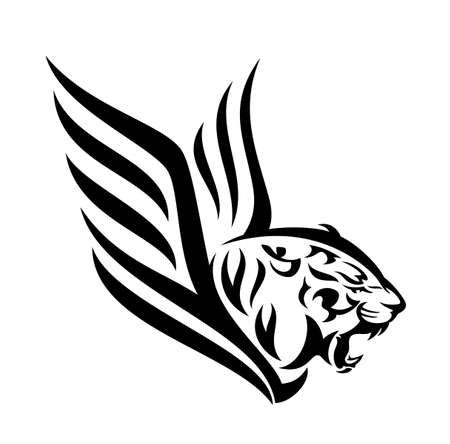 roaring tiger profile head - furious big cat with wings black and white vector design