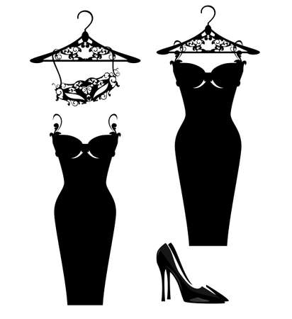 luxuriuos haute couture women fashion atelier design set with vector silhouettes of little black dress and masquerade mask Illustration