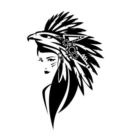 mesoamerican indian chief woman wearing traditional feathered headdress with eagle head black and white vector portrait