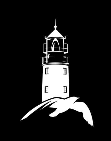 flying sea gull and lighthouse tower white vector silhouette over black background for sea voyage concept