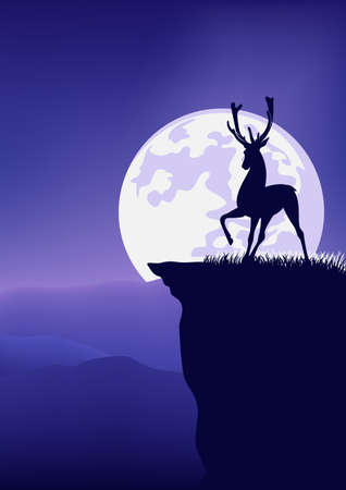 deer stag standing on high cliff against full moon disk - wild nature night scene vector landscape