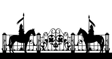 medieval knights watching the closed gate and fence - black and white vector silhouette design of fairy tale horse guards