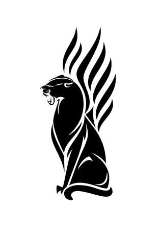 roaring black panther with wings vector portrait - elegant sitting mythical animal outline design