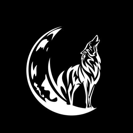 howling wolf spirit standing on crescent moon white vector outline against black night sky background Vektoros illusztráció
