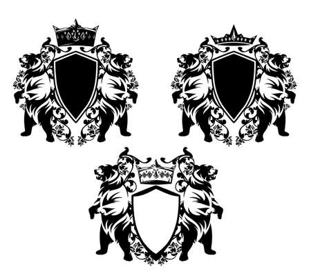 Two bears standing up with heraldic shield, king crown and rose flowers decor