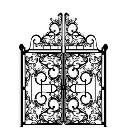 Antique wrought gate passage Vector Illustratie