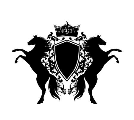 pair of rearing up horses with royal crown and shield among rose flowers - black rampant animals with heraldic vector design elements over white