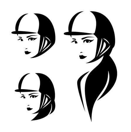 Woman horse rider wearing helmet head