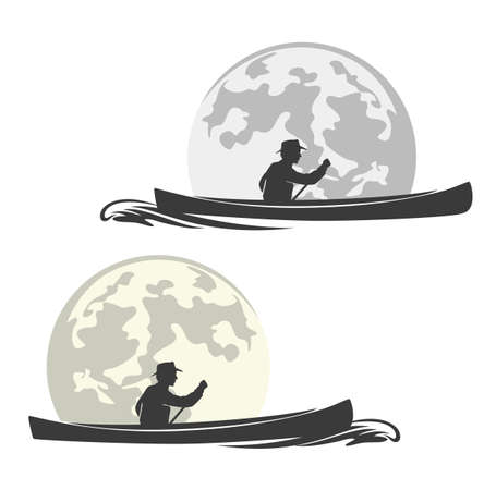 man rowing in canoe boat with full moon background - wilderness boat travelling vector outline set