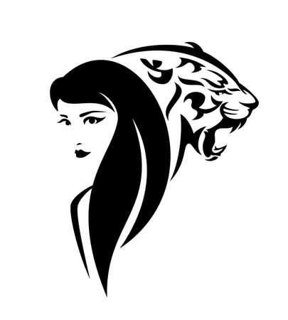 beautiful woman with long hair and roaring wild tiger head - black and white vector portrait of girl and big cat