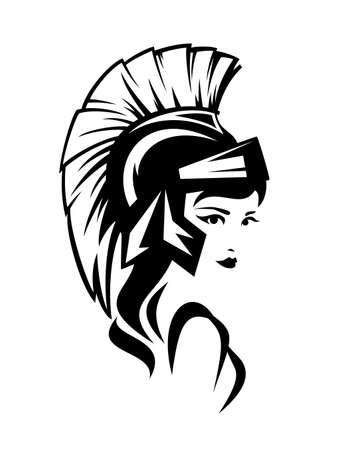 beautiful Athena Pallas wearing helmet - ancient greek goddess woman black and white vector head portrait Ilustración de vector