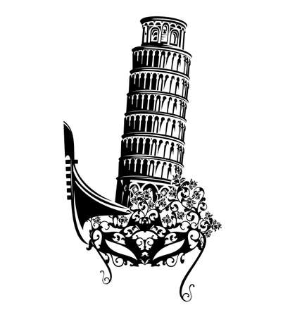 elegant face mask decorated with rose flowers, venetian gondola boat and leaning tower of Pisa for travel to Italy black and white vector silhouette design concept