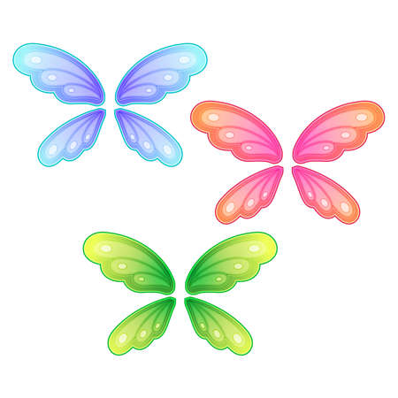 set of butterfly wings on white background Vector