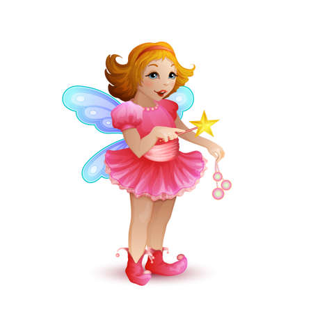 illustration of funny fairy on transparent background Vector