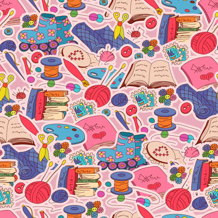 seamless pattern with hobby elements on pink background