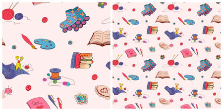 Vector seamless pattern with hobby elements on white background Vector