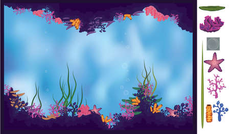 Vector illustration of underwater cave with corals