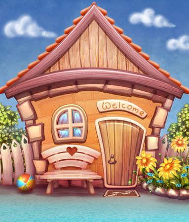 cottage garden: Illustration of small house in cartoon style Stock Photo