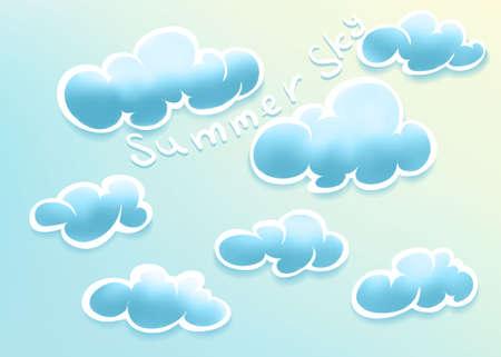 summer sky: Vector illustration of clouds on summer sky