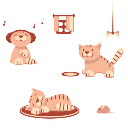Funny cats in flat style, vector illustration Vector