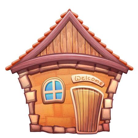 Vector illustration of cartoon home on white background Illusztráció