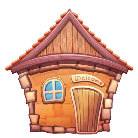 Vector illustration of cartoon home on white background Çizim