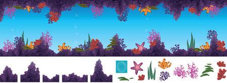peinture rupestre: illustration de grotte sous-marine avec les coraux Illustration