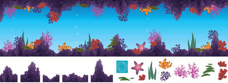 coral colored: illustration of underwater cave with corals