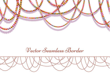tawdry: Vector abstract background with colored beads for your presentation. Horisontal seamless pattern